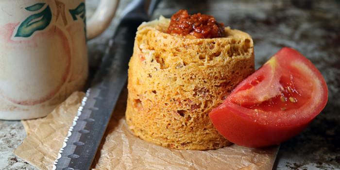 Sun Dried Tomato Pesto Mug Cake