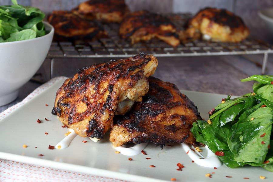 "Oven ""Grilled"" Asian Chicken Thighs 