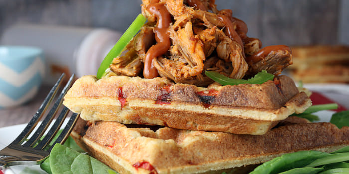 "BBQ Pulled Pork and ""Cornbread"" Waffles"