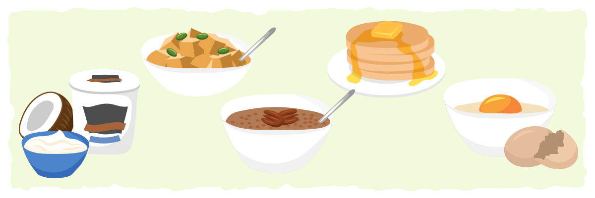 Ideas for common low-carb breakfast recipes