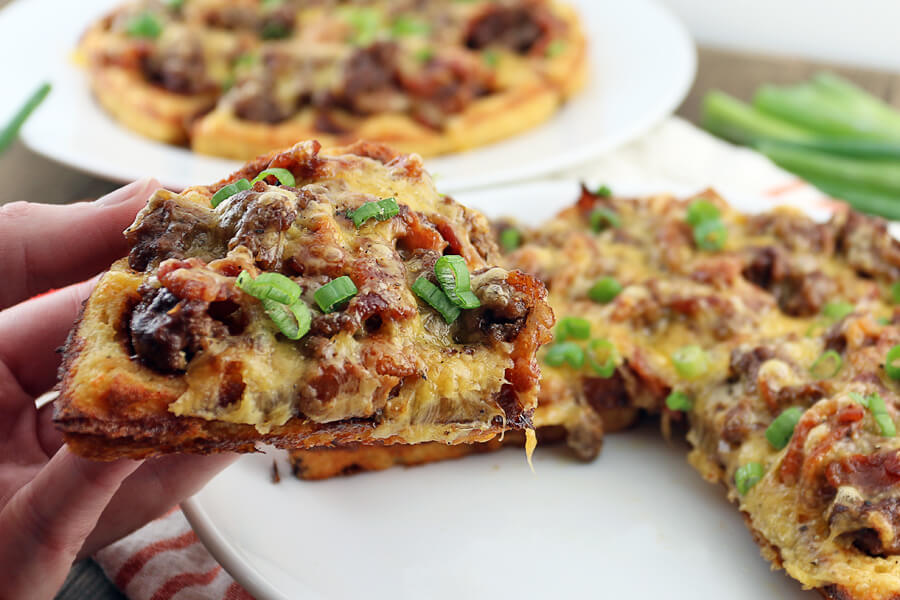 BBQ Bacon Cheeseburger Waffles