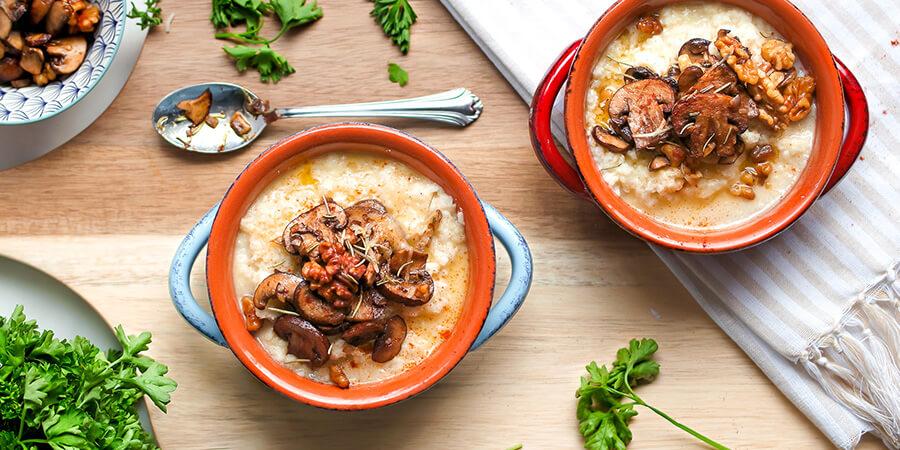 Roasted Mushroom and Walnut Cauliflower Grits