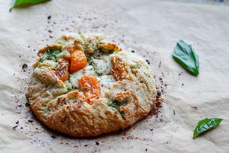 Tomato Basil and Mozzarella Galette