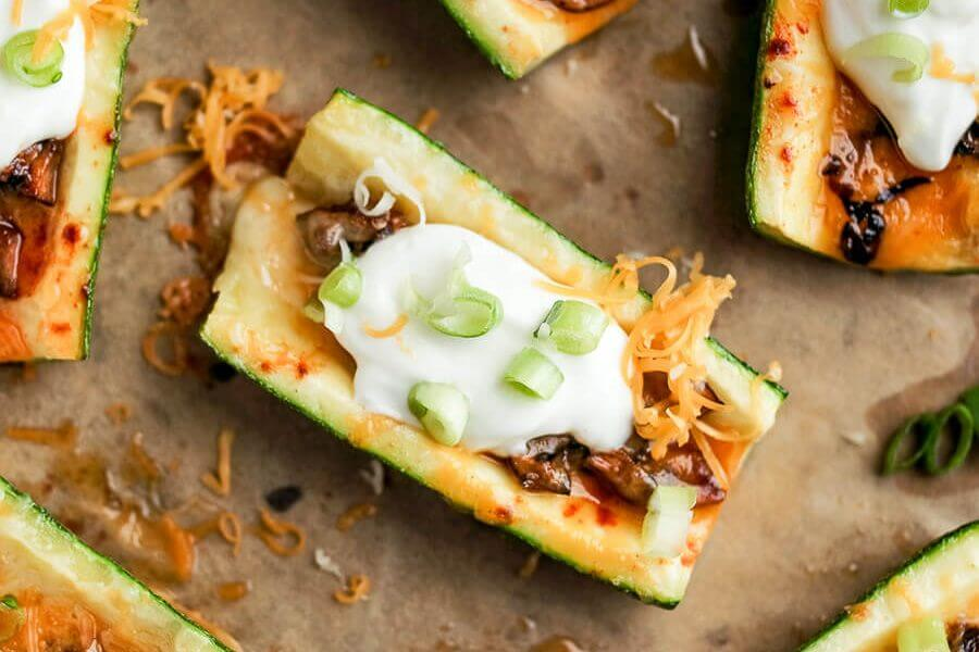 Vegetarian Loaded Zucchini Skins