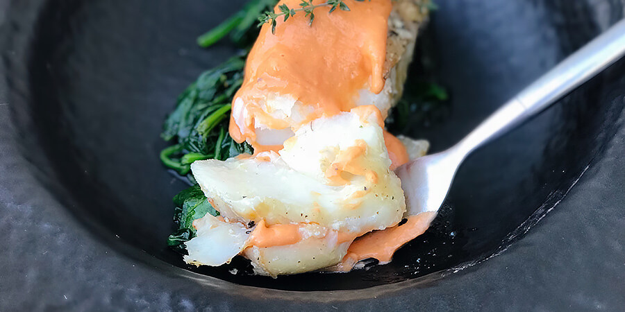 Pan Seared Cod with Tomato Hollandaise