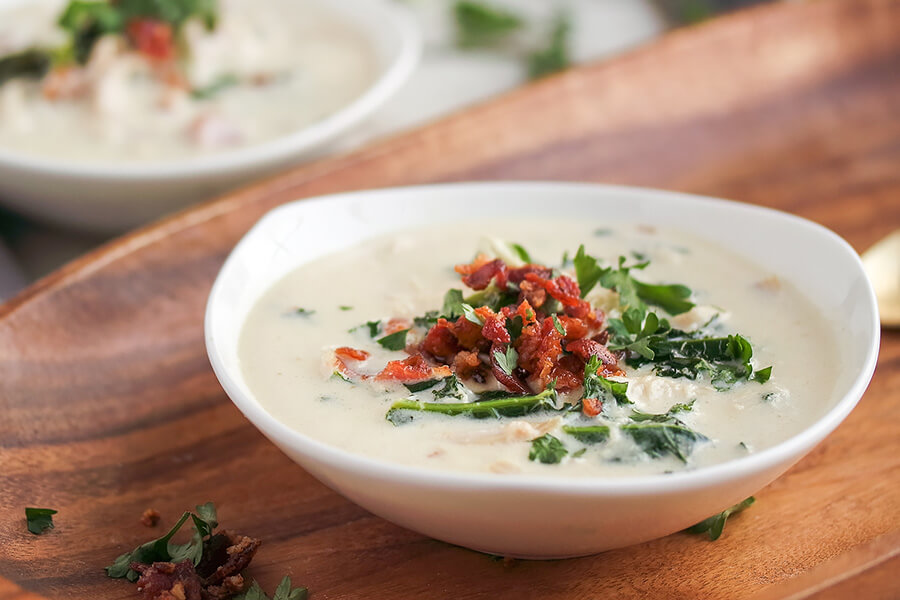 Chicken Cordon Bleu and Kale Soup
