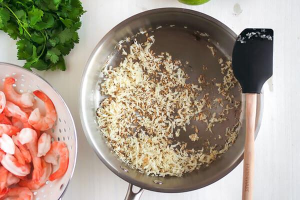Cilantro Lime Shrimp with Crispy Coconut Caulirice