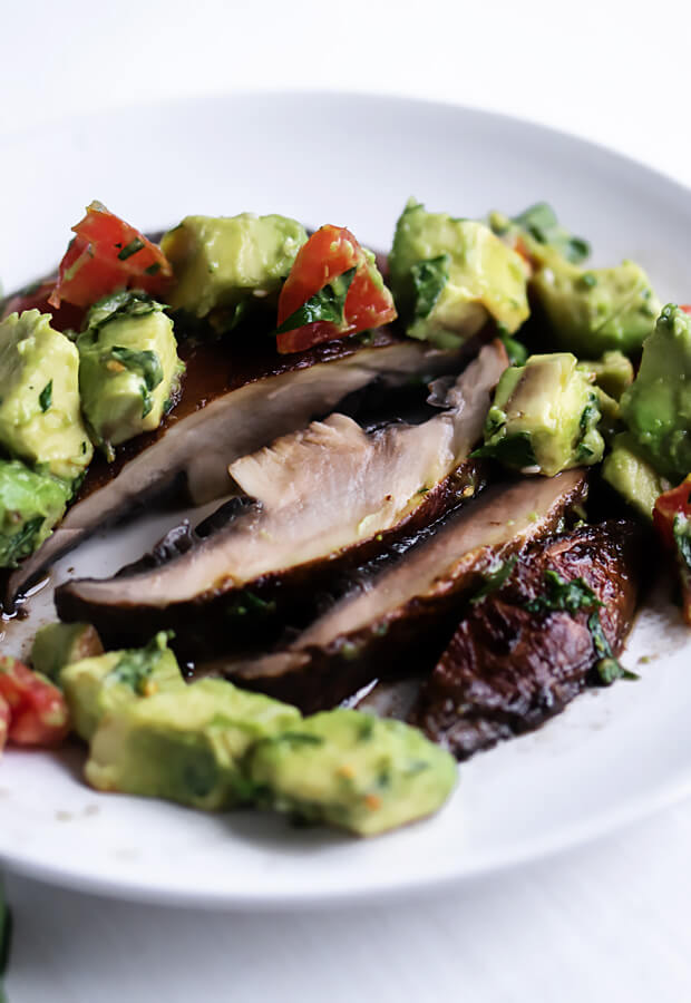 Vegan Portobello Steaks with Avocado Salsa