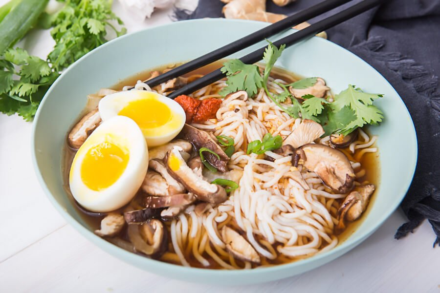 Keto Spicy Beef Ramen Bowl Soup