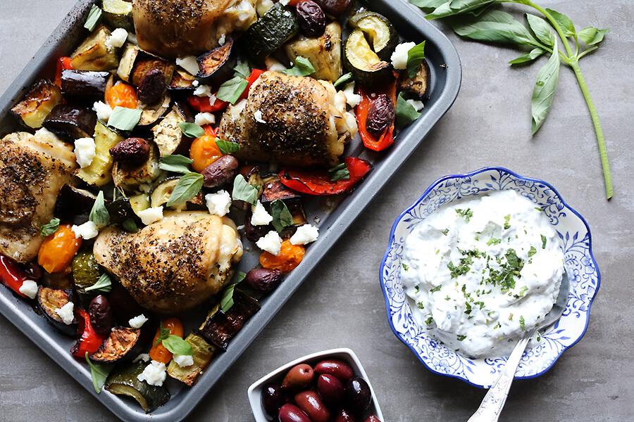 Greek Chicken with Mint Yogurt Dip