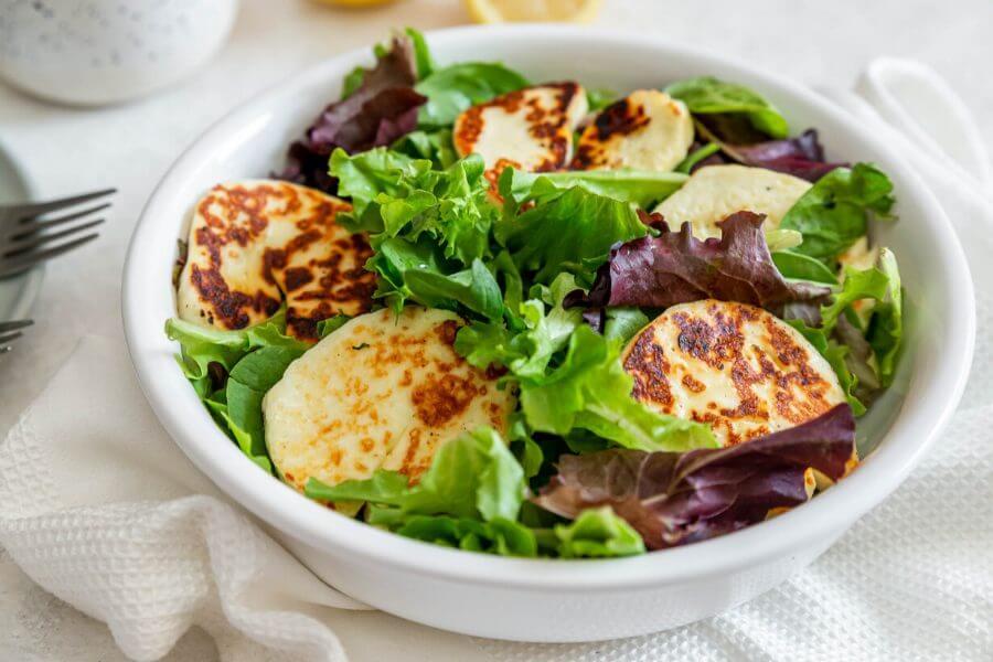 Halloumi Salad with Mint Dressing