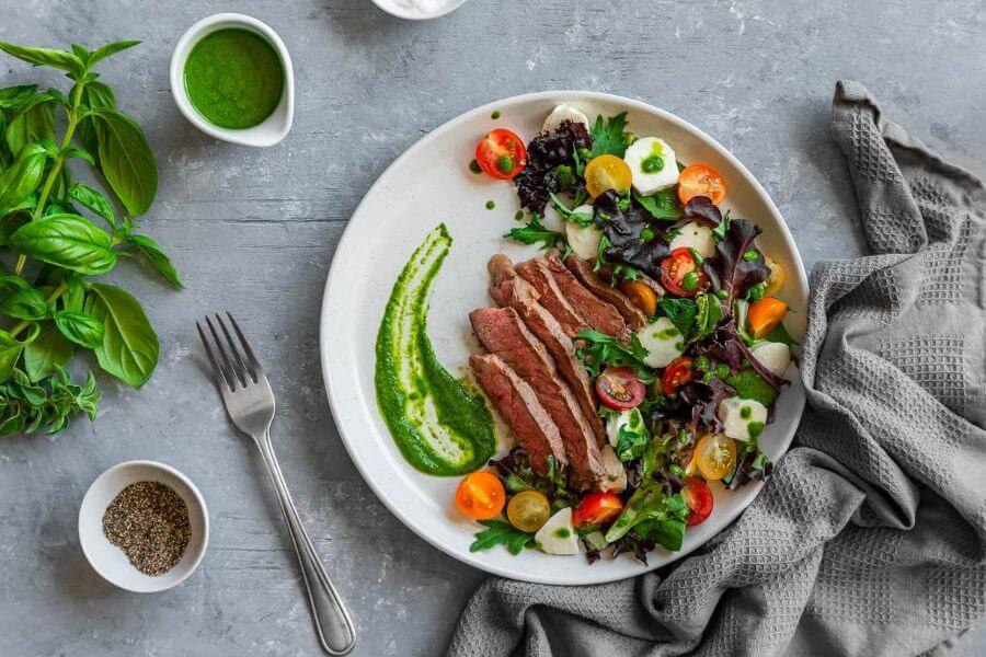Keto Mozzarella and Tomato Steak Salad