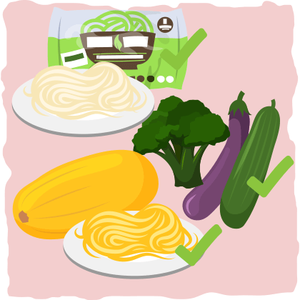 Italian pasta → Low-carb vegetables, shirataki noodles, or homemade keto noodles